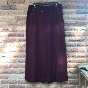 Midi length wide leg dress pants with buttons